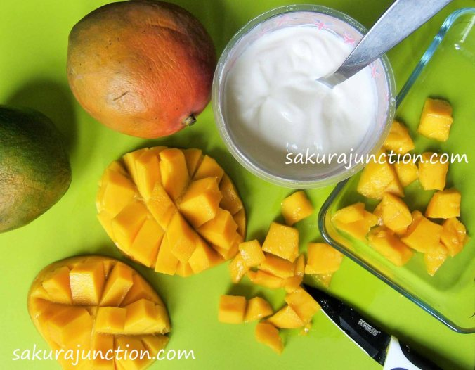 mango yogurt ice cream preparation