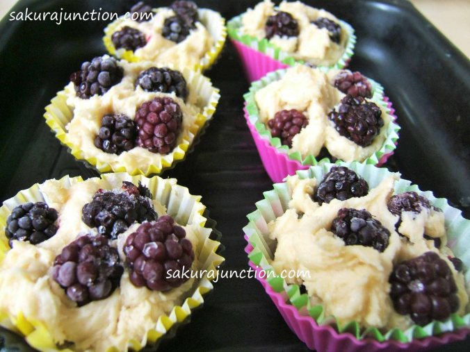 Blackberry and cake in cups