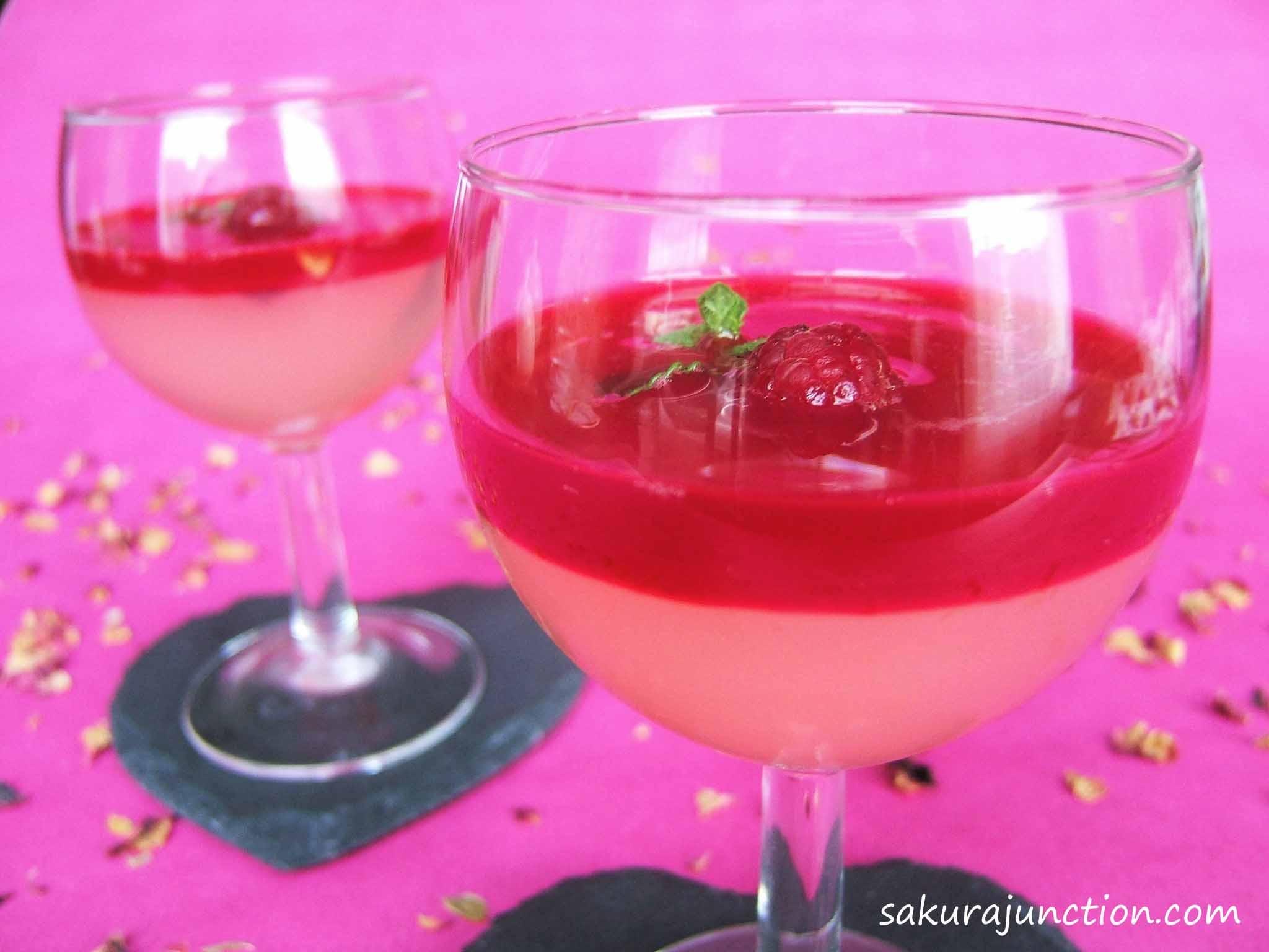 Rosy Sake Jelly with Raspberry Sauce 2