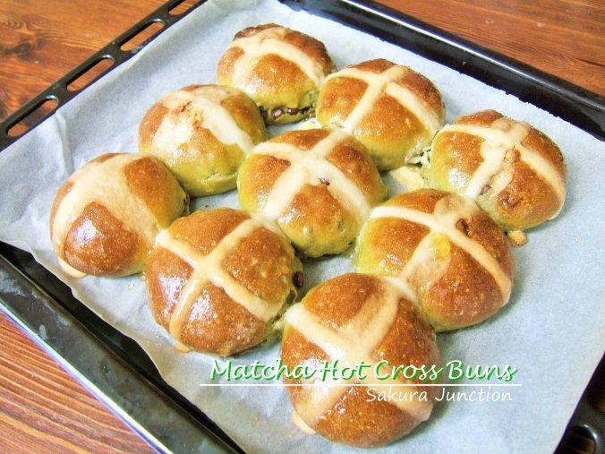 Matcha Hot Cross Buns on tray