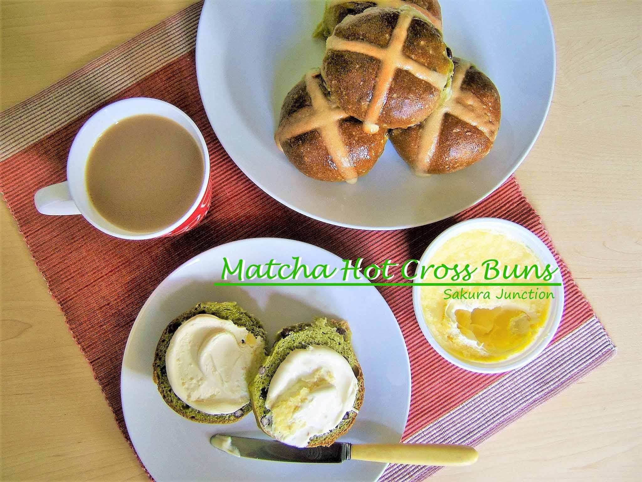 Matcha Hot Cross Buns with tea 2