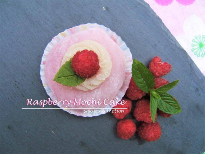 Raspberry mochi Cake top